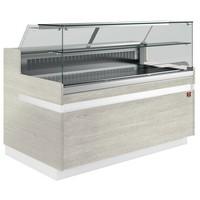 hűtőpult, ventilációs, 2538 mm-es, egyenes 1 polcos frontüveggel, hűtött tároló nélkül, világos faszínű