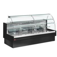 1400 mm-es hűtőpult, statikus, íves megnövelt frontüveggel