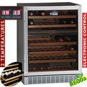 155 literes borhűtő, 2 zónás, üveg ajtós, ventilációs, fekete színben