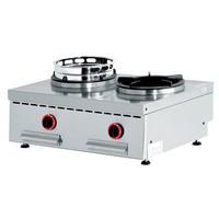 gázos asztali 2 égős wok főzőhely, Ø180 mm-es wokfeltéttel