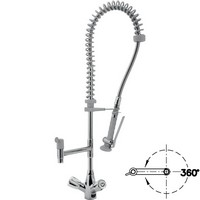 asztali flexibilis tisztító zuhany kétgombos keverő csapteleppel és körbeforgó kifolyóval