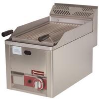 blokkba építhető asztali gázos lávaköves sütő, 312*480 mm-es acél sütőráccsal