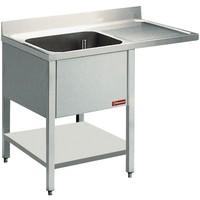 1 medencés mosogató jobbos csepegtetővel, mosogatógéphez, 1400 mm-es, alsó polccal