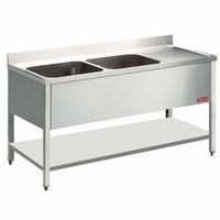 2 medencés mosogató jobbos csepegtetővel, 1600 mm-es, alsó polccal