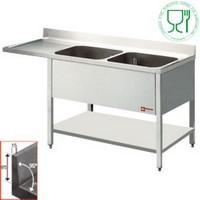 2 medencés mosogató balos csepegtetővel, mosogatógéphez, 1800 mm-es, alsó polccal