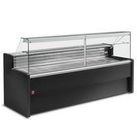 2500 mm-es hűtőpult, statikus, egyenes frontüveggel