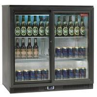 191 literes 2 toló ajtós bárbelső, ventilációs, üvegajtós, fekete