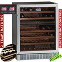 155 literes borhűtő, 2 zónás, üvegajtós, ventilációs, fekete színben